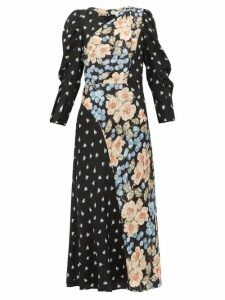 Rebecca Taylor - Blush Rose-print Silk-blend Midi Dress - Womens - Black Multi