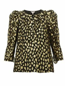 Rebecca Taylor - Fil-coupé Silk-blend Blouse - Womens - Black Gold