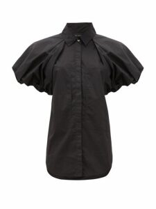 Lee Mathews - Elsie Puff-sleeve Cotton-poplin Shirt - Womens - Black