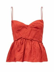 Brock Collection - Peplum-hem Satin Bustier Top - Womens - Red