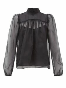 Rochas - Neck-tie Silk-organza Blouse - Womens - Black