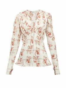 Paco Rabanne - Floral Print Crystal Button Satin Blouse - Womens - Light Pink