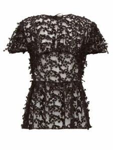 Cecilie Bahnsen - Tammi Floral-embroidered Tulle Blouse - Womens - Black