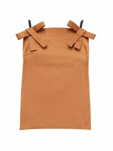 No. 21 - Bow-strap Duchess-satin Top - Womens - Light Brown