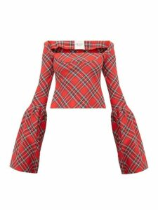 A.w.a.k.e. Mode - Artemon Bell Sleeve Tartan Twill Top - Womens - Red