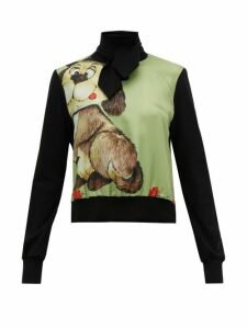 Symonds Pearmain - Dog Print Silk Satin And Jersey Top - Womens - Black Multi
