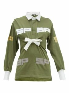 Symonds Pearmain - Logo Flocked Tie Front Cotton Jersey Rugby Top - Womens - Khaki
