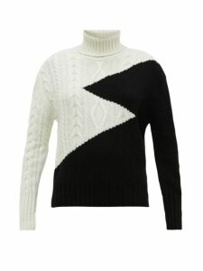 Symonds Pearmain - Zigzag Intarsia Roll Neck Wool Sweater - Womens - Black White