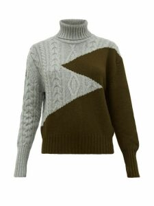 Symonds Pearmain - Zigzag Wool Roll-neck Sweater - Womens - Khaki Multi