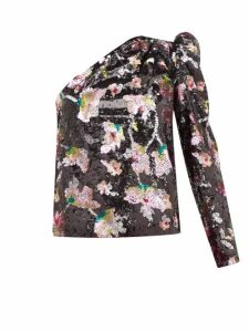 Self-portrait - One-shoulder Sequin-floral Velvet Top - Womens - Black Multi