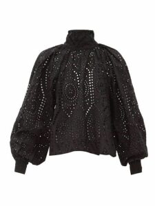 Ganni - Tie-neck Broderie-anglaise Cotton Blouse - Womens - Black