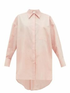 Ssone - Oversized Dyed Cotton-poplin Shirt - Womens - Light Pink
