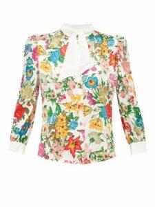 Edeltrud Hofmann - Dia Floral-print Silk Blouse - Womens - White Multi