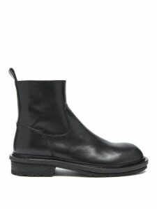 Ann Demeulemeester - Exaggerated Leather Ankle Boots - Womens - Black