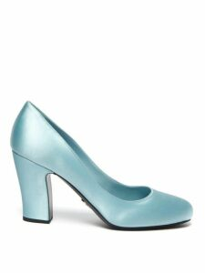 Prada - Round Toe Satin Pumps - Womens - Light Blue