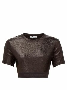 Paco Rabanne - Logo Hem Metallic Jersey Cropped Top - Womens - Black