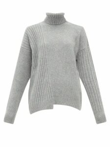 Falke - Roll Neck Asymmetric Hem Wool Blend Sweater - Womens - Grey
