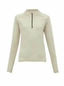 Capranea - Zipped Funnel Neck Fleece Back Sweater - Womens - Beige