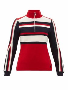 Bogner - Dafne Striped Zipped Wool-blend Sweater - Womens - Red