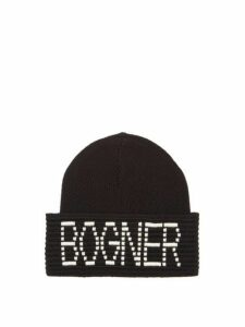 Bogner - Joris Logo Intarsia Wool Blend Beanie - Womens - Black