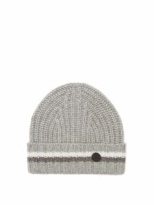 Bogner - Logo-roundel Jacquard-striped Cashmere Beanie Hat - Womens - Grey