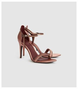 Reiss Linette - Woven Strappy Sandals in Rose Gold, Womens, Size 8