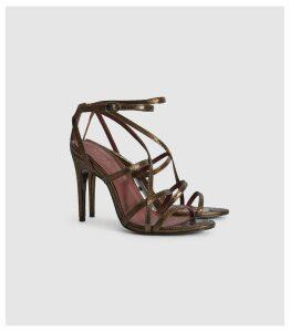 Reiss Dana Bronze - Metallic Strappy Sandals in Bronze, Womens, Size 8
