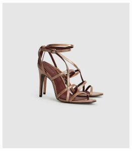 Reiss Dana Metallic - Metallic Strappy Sandals in Rose Gold, Womens, Size 8