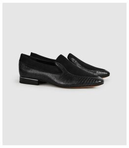 Reiss Nina - Leather Slip On Loafers in Black, Womens, Size 8