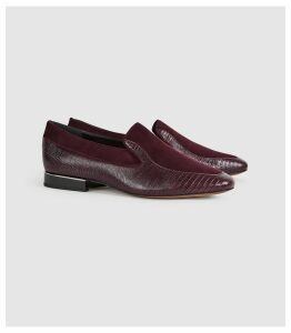 Reiss Nina - Leather Slip On Loafers in Pomegranate, Womens, Size 8