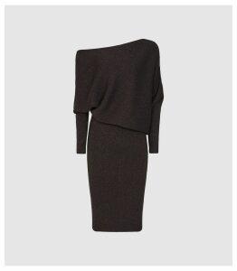 Reiss Vera - Off-the-shoulder Metallic Bodycon Dress in Chocolate, Womens, Size XL