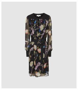 Reiss Finn - Floral-print Crinkled Sheer Dress in Black, Womens, Size 16