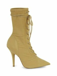 Stretch Canvas Lace-Up Booties