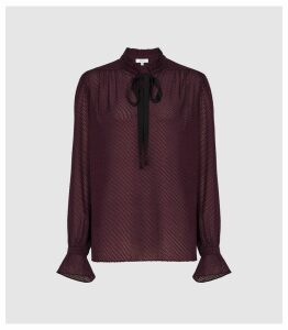 Reiss Maevie - Silk Blend Polka Dot Detail Blouse in Berry, Womens, Size 16