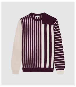 Reiss Andy - Striped Crew Neck Jumper in Bordeaux, Mens, Size XXL