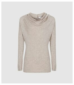 Reiss Sierra - Cowl Neck Jersey Top in Oatmeal, Womens, Size XL