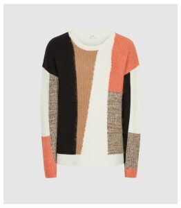 Reiss Sandy - Colour Block Knitted Jumper in Orange, Womens, Size XXL