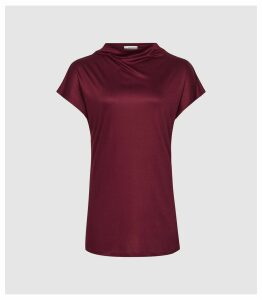 Reiss Pax - High Neck Top in Berry, Womens, Size XL