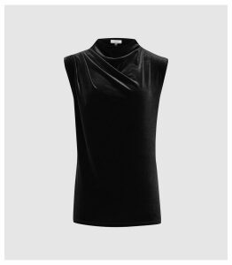 Reiss Lola - High Neck Velvet Top in Black, Womens, Size XL