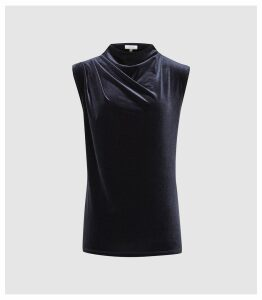Reiss Lola - High Neck Velvet Top in Navy, Womens, Size XL