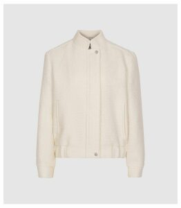 Reiss Tahlia - Boucle Bomber Jacket in Ivory, Womens, Size 14