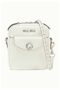 Miu Miu - Solitaire Crystal-embellished Leather Camera Bag - White