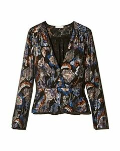 Ramy Brook Rainn Metallic Floral Peplum Top