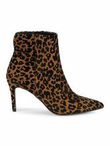 Leiland Leopard-Print Velvet Booties