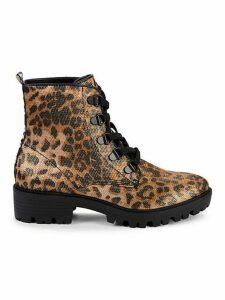 Epic Leopard-Print Combat Boots