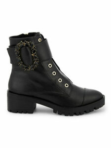 Piper Embellished Leather Combat Boots