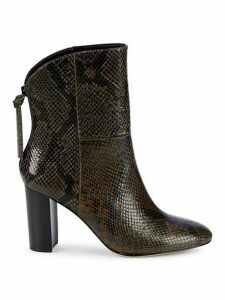 Snakeskin-Embossed Leather Bootie