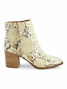 Trixi Snakeskin-Embossed Faux Leather Booties
