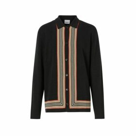 Burberry Icon Stripe Trim Wool Cashmere Cardigan