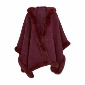 Alice + Olivia Kamala Fur-trimmed Wool-blend Poncho